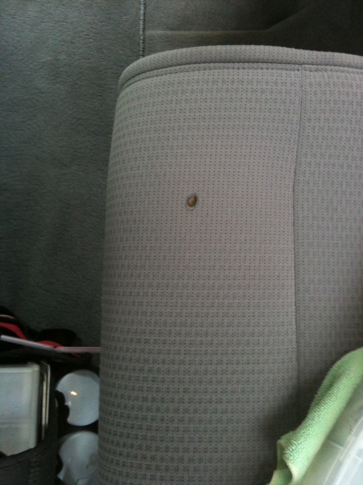 Burn Hole In Fabric Seat Repaired